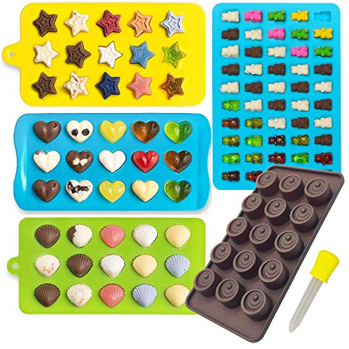 Candy Molds & Silicone Chocolate Mold   Jello & Ice Cube Trays   Set of 4   Non Stick & BPA Free   Hearts, Stars, Shells & Gummy plus 1 dropper - by Lucentee