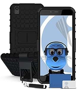 iTALKonline OnePlus lote de OnePlusX color negro y rígida de plástico diseño a prueba de golpes resistente de visión funda con tapa y función atril y rotación de con Protector de pantalla LCD de Y de la de audio para auriculares de adaptador de soporte de 3,5 mm retráctil de punta de lápiz táctil de tamaño pequeño pluma, compatible con OnePlus X OnePlusX