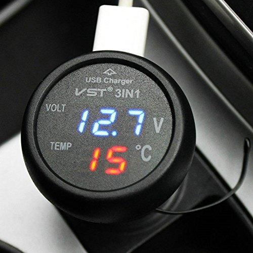 uniquegoods 1224V 3 in 1 Digital Monitor Blue Voltmeter Thermometer Cigarette Lighter USB Phone Car Charger