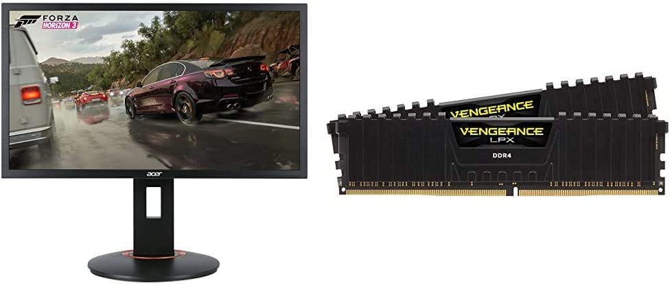 Acer XFA240 bmjdpr 24%22 Gaming G-SYNC Compatible Monitor 1920 x 1080, 144hz Refresh Rate, Pivot & Tilt, Black & Corsair Vengeance LPX 16GB (2x8GB) DDR4 DRAM 3200MHz C16 Desktop Memory Kit - Black
