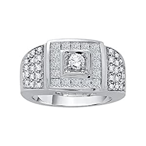 Round Brilliant and Princess Cut Mens Diamond Fashion Ring in Sterling Silver (1 5/8 cttw, GH Color, I1 Clarity)