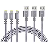 Phone Cable 6FT TIMMY 3 Pack Nylon Braided Charger to Charging USB Cable Compatible iPhone iPad and More (Gray)