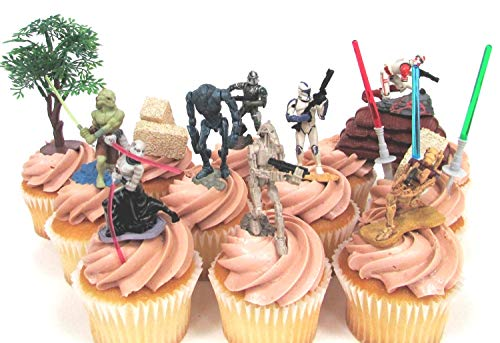 (STAR WARS 14 Piece CUPCAKE Topper Set Featuring Storm Troopers, Soldiers, Kit Fisto and Asajj Ventress, Themed Decorative Accessories, Figures Average 1.5