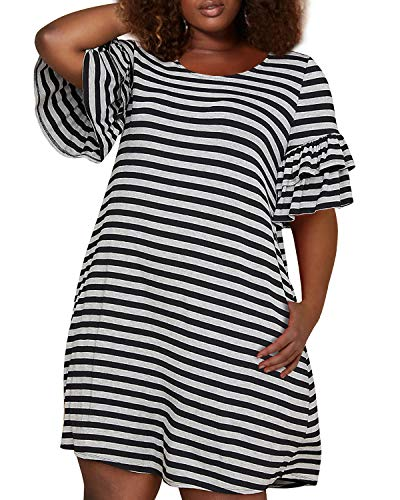 (Nemidor Women's Ruffle Sleeve Jersey Knit Plus Size Casual Swing Dress with Pocket (Black Stripe, 18W))