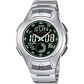 CASIO Collection AQ-160WD-1BVEF - Reloj de Caballero de Cuarzo, Correa de Acero Inoxidable Color (cronómetro, Alarma, luz)
