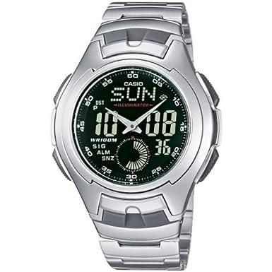 CASIO Collection AQ-160WD-1BVEF - Reloj de caballero de cuarzo, correa de acero inoxidable color (cronómetro, alarma, luz): Amazon.es: Relojes