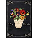 Fleur Pensee Summer Flower Pot Scroll Chalkboard 30 x 44 Large House Flag