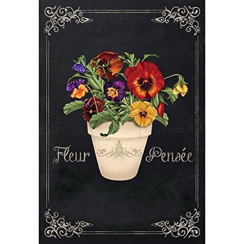 Fleur Pensee Summer Flower Pot Scroll Chalkboard 30 x 44 Large House Flag