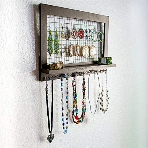 Wheatness Rustic Wooden Brown Jewelry Organizer Wooden Wall Mounted Holder for Earrings Necklaces Artistic Storage Rack