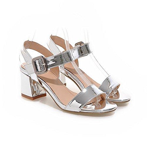BalaMasa Womens Sandals Sandals No-Closure Smooth Leather Slip-Resistant Sandals ASL04664 Silver IG3jVq