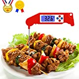 Tai-ying Meat Thermometer,Instant Read Thermometer Foldable Super Fast Digital Electronic Food Thermometer Cooking Thermometer Barbecue Meat Thermometer With back light for Grill Cooking Meat Kitchen