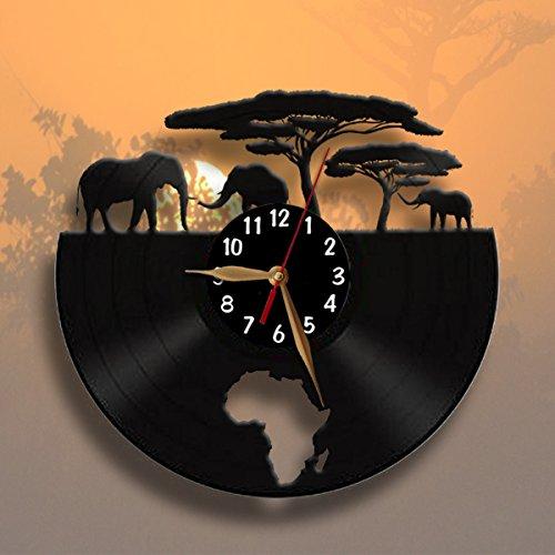 Africa Elephants Clock Vinyl Record Wall Clock 12 Inch