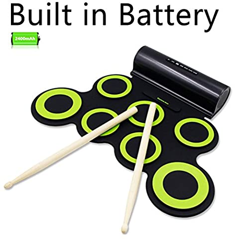 Electronic Drum Set, Rockpals Roll Up Drum Practice Pad Midi Drum Kit with Headphone Jack Built-in Speaker Drum Pedals Drum Sticks 10 Hours Playtime for Kids (Midi To Headphone Jack)
