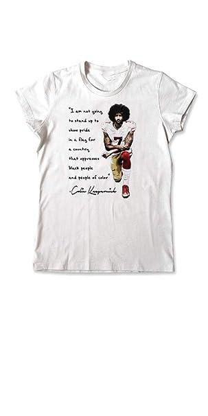 45abecf2d54dc Amazon.com  Colin Kaepernick T-Shirt I Stand With Kap Kneeling Quote Women  Tee  Clothing