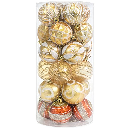Best Choice Products Set of 24 60mm Shatterproof Christmas Ball Ornaments Hanging Holiday Pendant Decoration w/Embossed Glitter Design - Gold]()