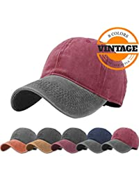 Unisex Vintage Washed Distressed Baseball-Cap Twill Adjustable Dad-Hat 7605f3de969
