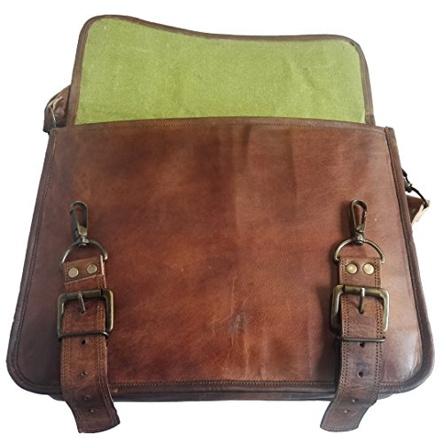 Mad Over Shopping, Vintage handgemachte braune Taschen aus echtem Leder Messenger Laptop Schulter Aktentasche Office Bag