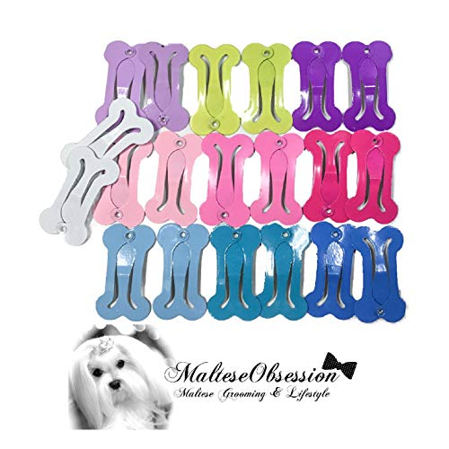 Dog Bone Clips - Bone Snap Hair Clips New 2019 MO Colors - Pairs in 12 Colors (24 Clips Plus Free MO top Knot Latex Free Bands) - Popular Korean Style Hair Clips for Small Breed Dogs