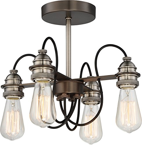 Minka Lavery Farmhouse Semi Flush Mount Ceiling Light 4454-784 Uptown Edison Lighting Fixture, 4-Light 160 Watts, Harvard Court Bronze