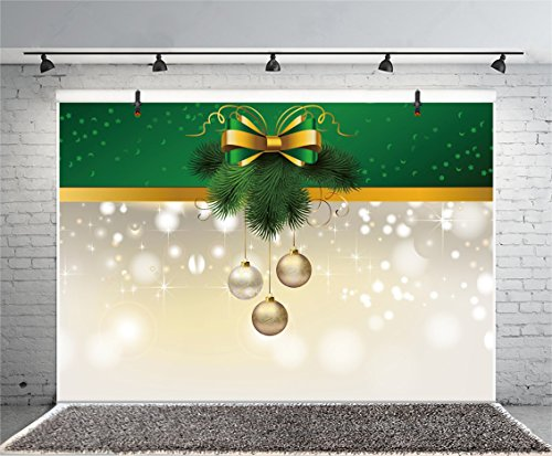 (Leyiyi 6x4ft Photography Backdrop Merry Christmas Wreath Pine Branches Gifts Red Berry Balls Ribbon Sparkle Spots Winter Holiday Photo Portrait Vinyl Video Studio Prop)