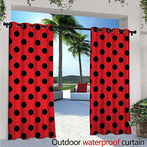 Red and Black Outdoor- Free Standing Outdoor Privacy Curtain W72 x L108 Retro Vintage Pop Art Theme Old 60s 50s Rocker Inspired Bold Polka Dots Image for Front Porch Covered Patio Gazebo Dock Beach -