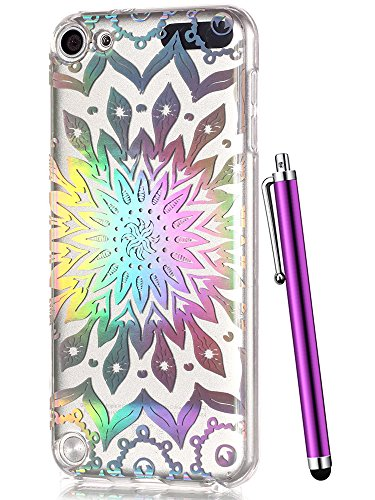 iPod 6 Case for Girls,iPod Touch 5th Generation Case Clear,CAIYUNL Cute Slim TPU Soft Floral Flowers Pattern shockproof Cover Women Men itouch Design Protective for Apple iPod Touch 5&Stylus-Sunflower (Pokemon 5th Generation Ipod Case)