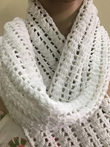 Christmas Gift Ideas White Handmade Crochet Scarf Winter Crochet