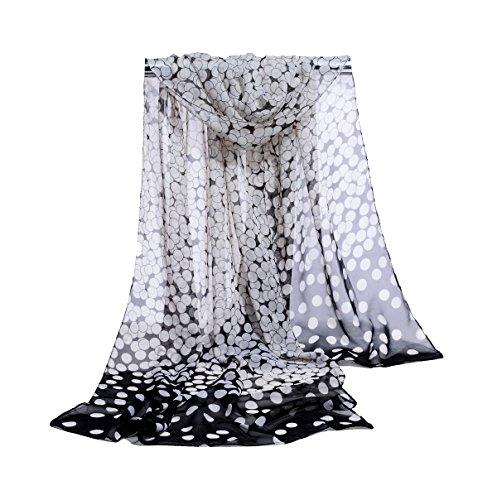E-Clover Womens Sheer Scarves: Lightweight Dot Print Neck Scarf Shawl - Dot Sheer Print