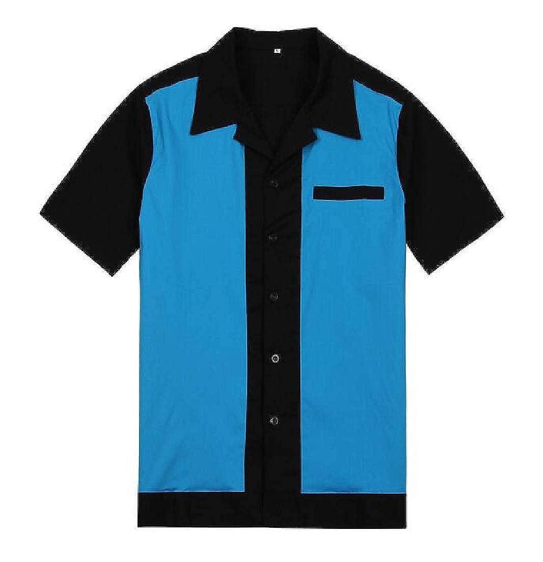 YYear Mens Cotton Linen Loose Short Sleeve Contrast Button Up Shirt