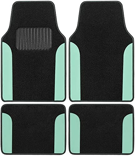 BDK Mint Carpet Car Floor Mats, Two-Tone Faux Leather Automotive Floor Mats, Includes Anti-Slip Features and Built-in Heel Pad, Stylish Floor Mats for Cars Truck Van SUV