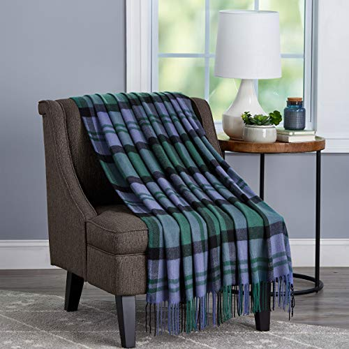 Lavish Home Collection Soft Blanket-Oversized, Luxuriously Fluffy Vintage-Look and Cashmere-Like Woven Acrylic - Breathable, Stylish Throws, Evergreen Plaid