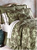 Be-You-Tiful Home Toile De Jouy Quilt Set, King, Green