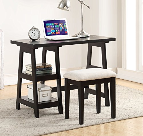 Major-Q Pxf4635 Black Finish Wooden Writing Desk with 2 Side Shelves and Stool ()