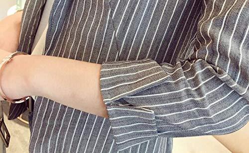 Domple Womens Autumn Outwear Stripe Lapel Slim One-Button Blazer Coat Aspic US S by Domple (Image #2)'
