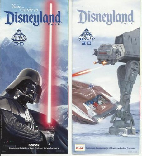 Disneyland Park Map and Tour Guide Featuring Star Tours and Darth Vader Set of 2 PLUS Star Wars Post Card of Boba - Map Adventure Disneyland