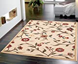 Floral Rug Ottomanson Ottohome Floral Garden Design Modern Area Rug with Non-SkidRubber Backing,  Beige,  3'3