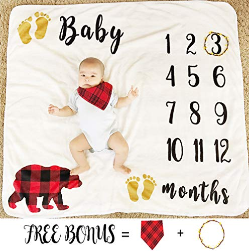 Baby Monthly Milestone Blanket for Boy Girl, Large Personalized Photography Background Blankets, Thick Fleece for Mom Newborn Baby Shower Gifts + Bib + Frame (Bear Blanket, 43''x47'') -