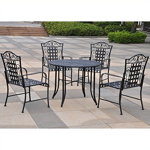 International Caravan Mandalay 5 Piece Iron Patio Dining Set in Black