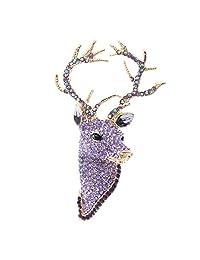 Purple Rhinestone Crystal Deer Head Brooch Pin,Christmas Pins Jewelry FA3181