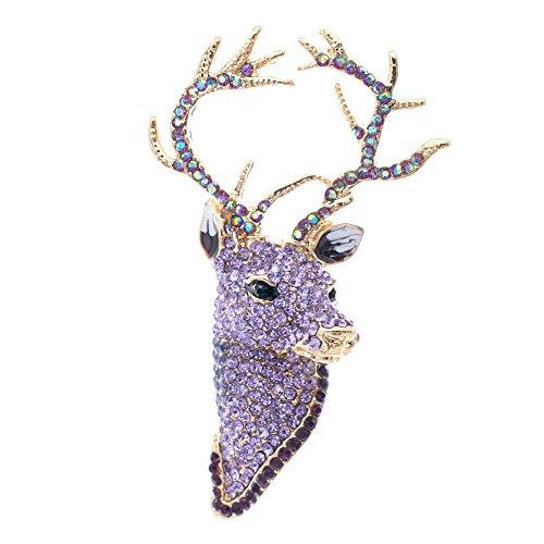 Purple Rhinestone Crystal - SEPBRIDALS Purple Rhinestone Crystal Deer Head Brooch Pin,Christmas Pins Jewelry FA3181