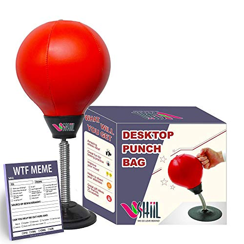Desk Punching Bag with Stand - Stress Buster Relief for Adults - Desktop Punching Ball with Novelty Notepad - Office Boxing Toys and Gadgets for Women and Men 【2019 Upgraded Version】