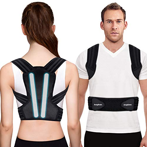 Posture Corrector for Men, Women and Kids, Kungfuren Premium Adjustable Back Brace with 2 Removable Rails for Improve Posture and Provide Lumbar Support, Suitable for Waistline 41.7'-51.2'(XL)