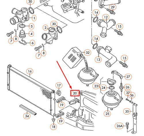 T4 Left Radiator Bracket 701121633B New Genuine: