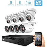 Amcrest ProHD 1080P 8CH Video Home Security Camera System with 8 x 2MP (1920TVL) IP67 Bullet & Dome Outdoor Surveillance Cameras, 98ft Night Vision, Pre-Installed 1TB Hard Drive, (AMDV20M8-4B4D-W)