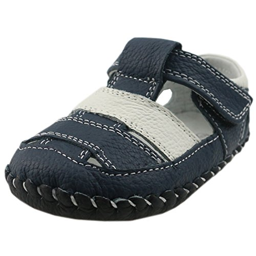 Orgrimmar Baby Boys Girls First Walkers Soft Sole Leather Baby Shoes (Size M, D White Blue) (Soft Shoes Baby Sole)