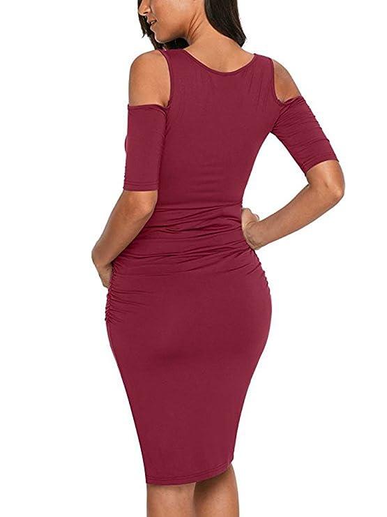 Vestir El Embarazo Fashion Bonita Vestido Premama Sencillos Especial Manga Corta Cuello Redondo Sin Tirantes Slim Fit Elegantes Embarazadas Vestido De ...