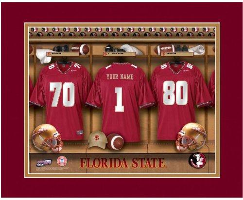 NCAA Locker Room Print Florida State Seminoles Football Personalized Framed