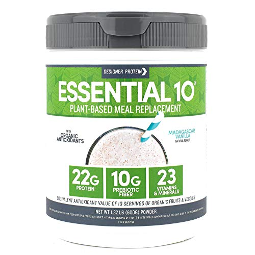 Designer Protein Essential 10, Madagascar Vanilla, 1.32 Pound, Plant Based Meal Replacement Protein -