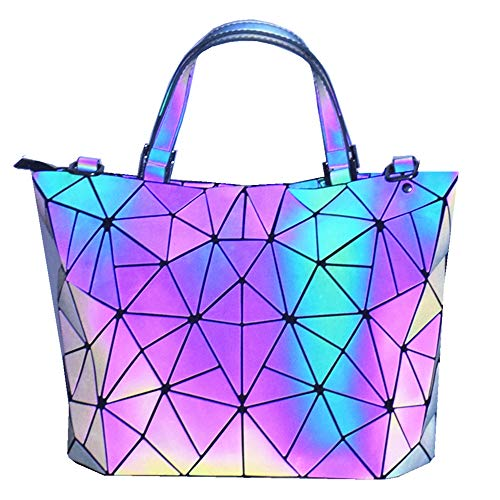 HotOne Geometric Purse Holographic Purse and Handbag Color Changes Luminous Purse For Women