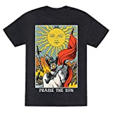 LookHUMAN Praise The Sun Tarot Card Heathered Black Medium Mens/Unisex Fitted Triblend Tee by